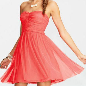 Strapless Coral Ruched Bodice Mesh Party Dress